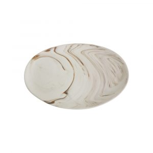 Nuanza Piring Oval Plate Marble 28 cm