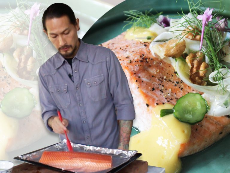 Read more about the article Kreasi Menu Makan Siang Half Baked Salmon with Fennel, Cucumber and Mango Sauce Ala Chef Juna