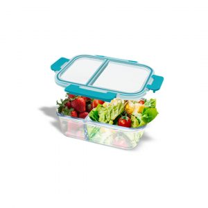 BROS Tempat Makan Oven Glass Container Divide Rect 2 Com 1000 ML Blue