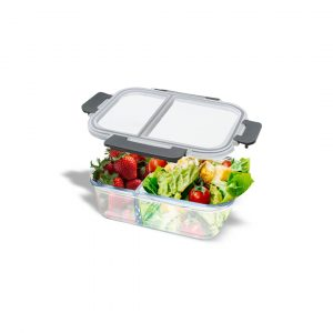 BROS Oven Glass Container Divide Rect 2 Com 1000 ML / Tempat Makan